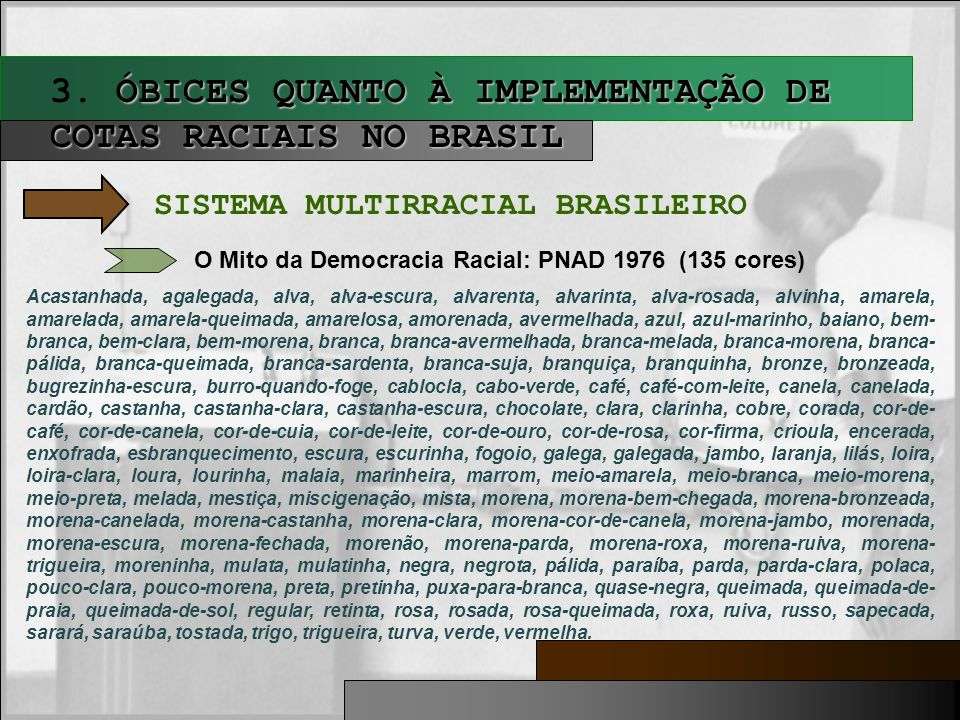 ÓBICES QUANTO À IMPLEMENTAÇÃO DE COTAS RACIAIS NO BRASIL 3. ÓBICES QUANTO À IMPLEMENTAÇÃO DE COTAS RACIAIS NO BRASIL SISTEMA MULTIRRACIAL BRASILEIRO O
