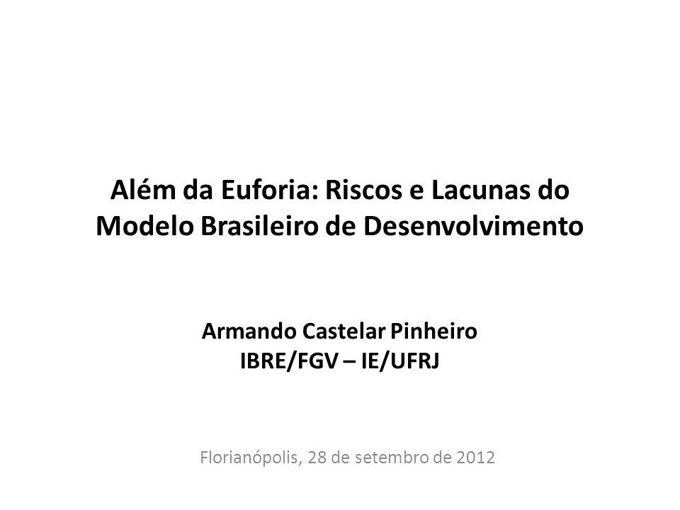 Além da Euforia: Riscos e Lacunas do Modelo Brasileiro de Desenvolvimento Armando Castelar Pinheiro IBRE/FGV – IE/UFRJ Florianópolis, 28 de setembro d