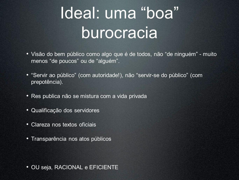 Ideal: uma boa burocracia Visão do bem público como algo que é de todos, não de ninguém - muito menos de poucos ou de alguém. Servir ao público (com a