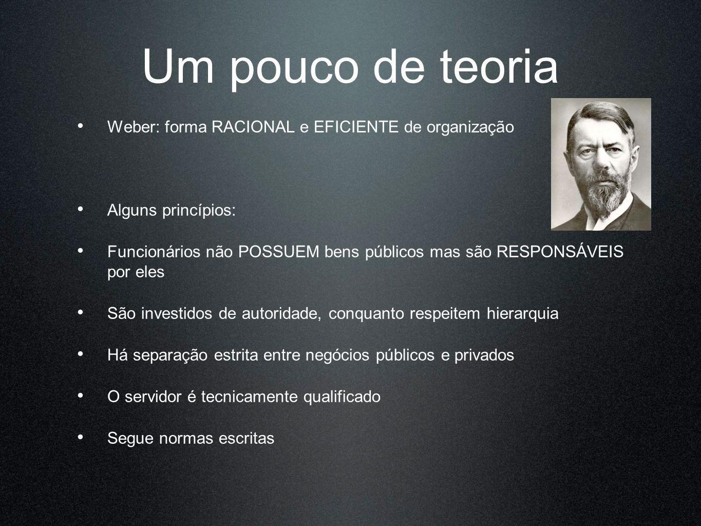 Um pouco de teoria Weber: forma RACIONAL e EFICIENTE de organização Alguns princípios: Funcionários não POSSUEM bens públicos mas são RESPONSÁVEIS por