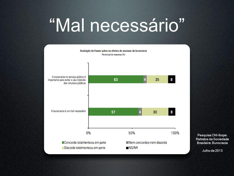 Mal necessário Pesquisa CNI-Ibope: Retratos da Sociedade Brasileira: Burocracia Julho de 2013