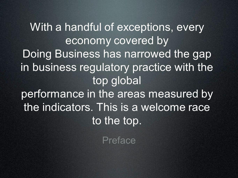 Regulações inteligentes incentivam o crescimento econômico Registro de empresas mais simplificado promove maior empreendedorismo e produtividade Registros de baixo-custo melhora as oportunidades de formalidade na economia Um ambiente de regulação eficiente impulsiona o desempenho do comércio Infra-estrutura do mercado financeiro sólida melhoram o acesso ao crédito Alguns princípios do DB
