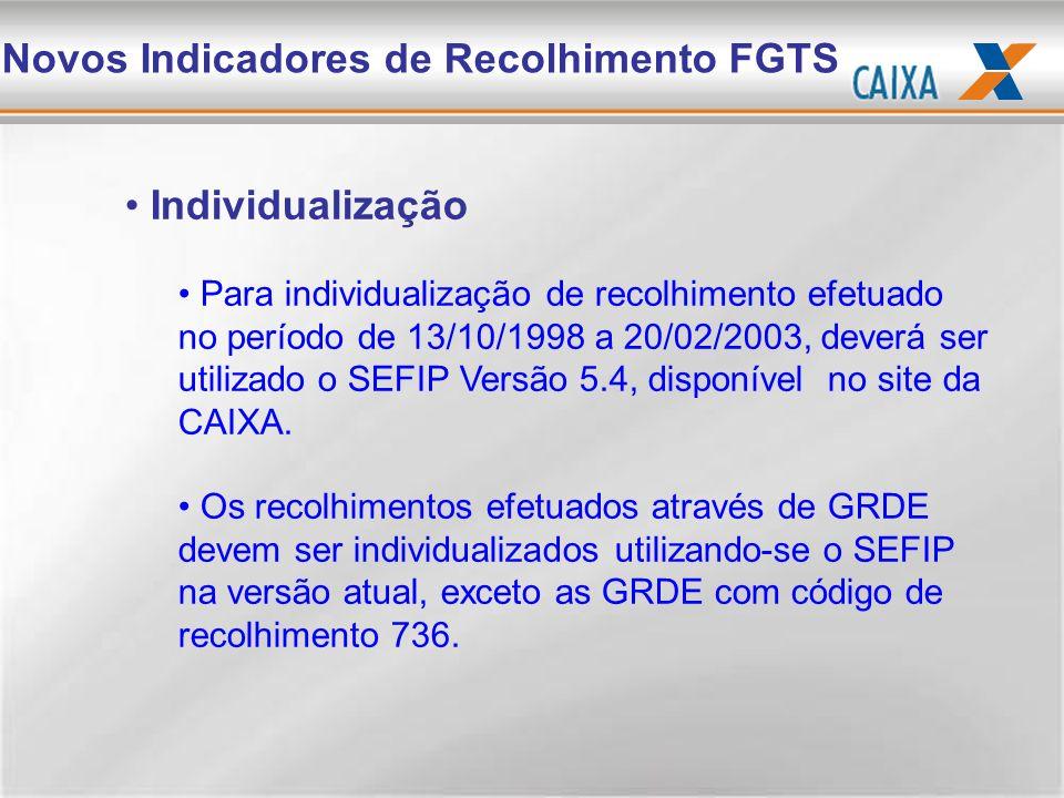 Individualização Para individualização de recolhimento efetuado no período de 13/10/1998 a 20/02/2003, deverá ser utilizado o SEFIP Versão 5.4, dispon