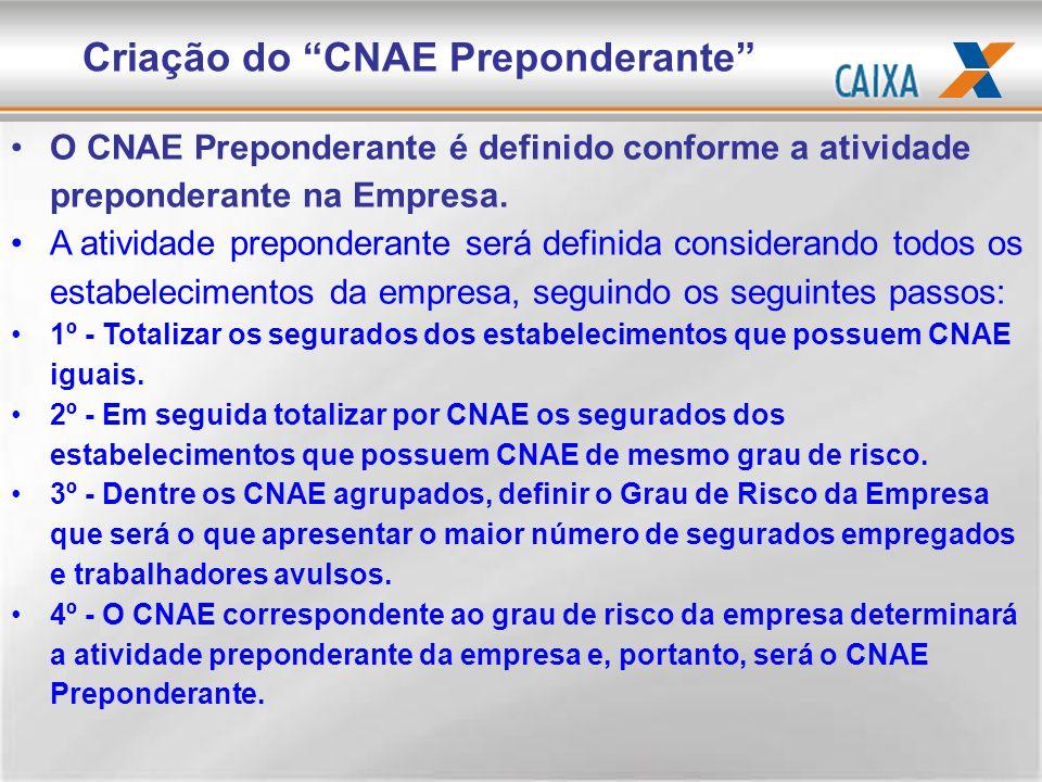 O CNAE Preponderante é definido conforme a atividade preponderante na Empresa. A atividade preponderante será definida considerando todos os estabelec