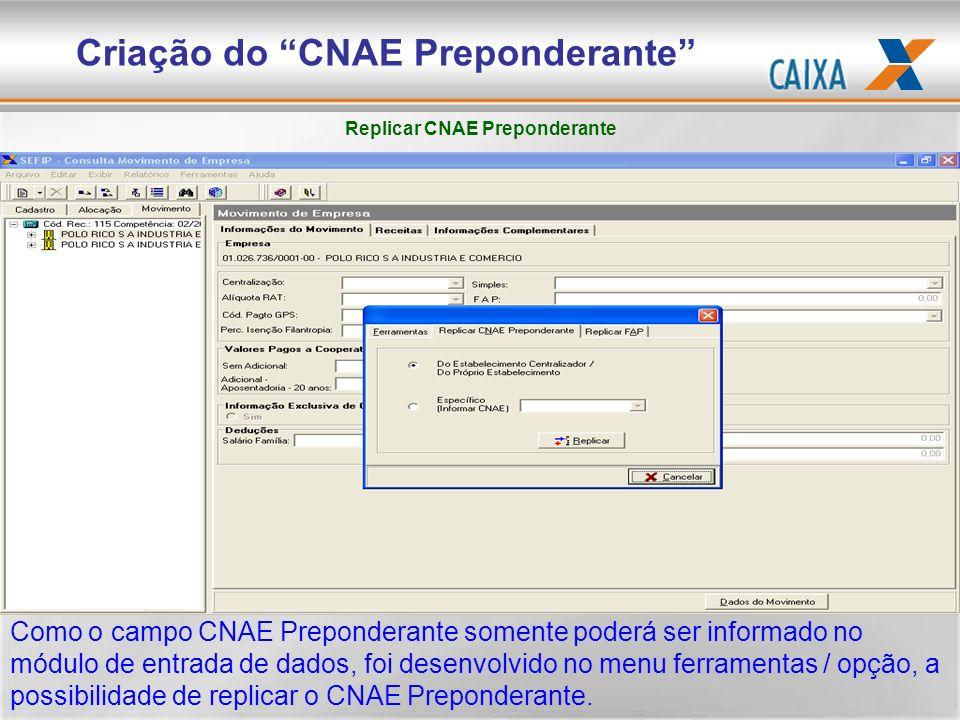 Como o campo CNAE Preponderante somente poderá ser informado no módulo de entrada de dados, foi desenvolvido no menu ferramentas / opção, a possibilid