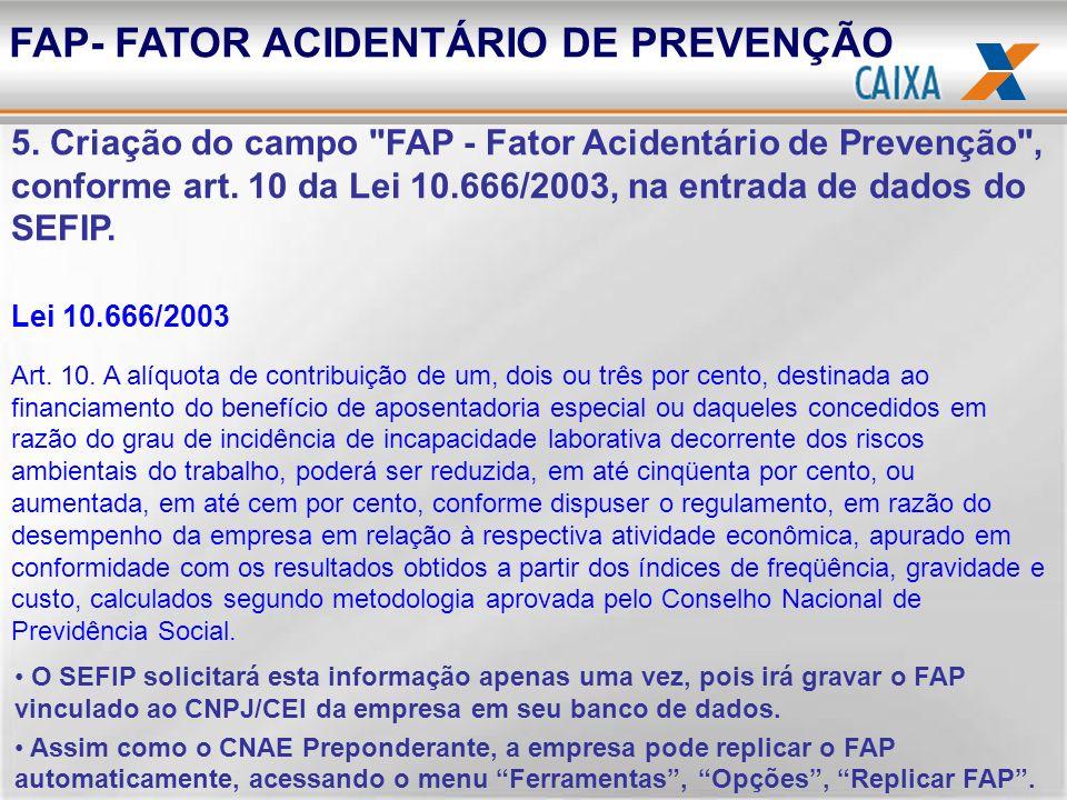FAP- FATOR ACIDENTÁRIO DE PREVENÇÃO 5. Criação do campo