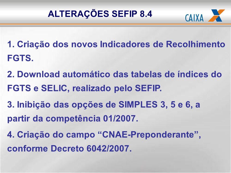 1. Criação dos novos Indicadores de Recolhimento FGTS. 2. Download automático das tabelas de índices do FGTS e SELIC, realizado pelo SEFIP. 3. Inibiçã