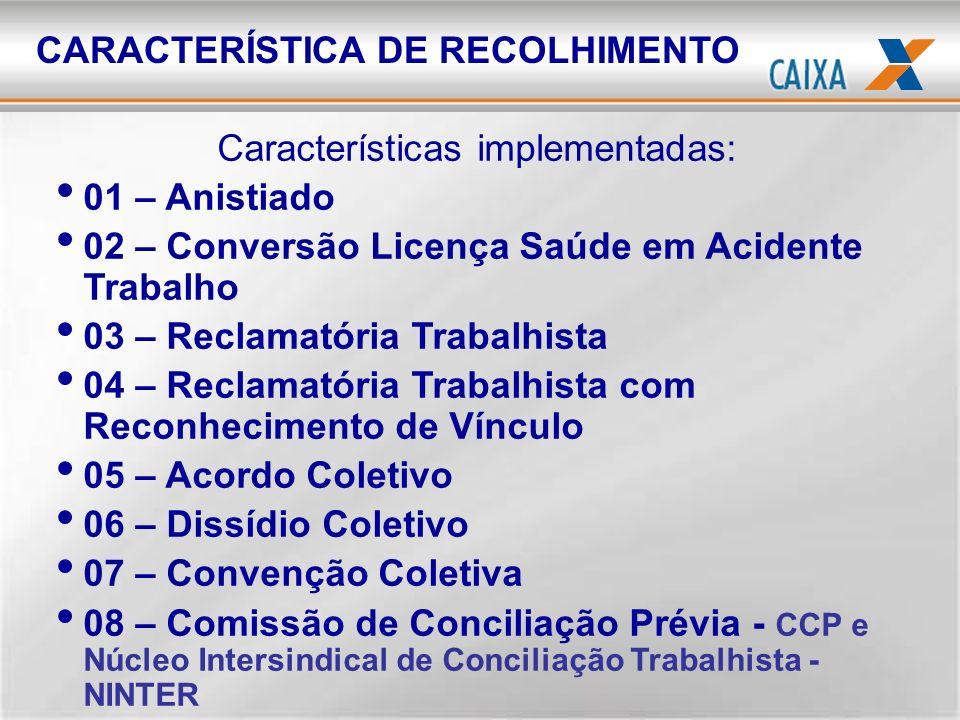 Características implementadas: 01 – Anistiado 02 – Conversão Licença Saúde em Acidente Trabalho 03 – Reclamatória Trabalhista 04 – Reclamatória Trabal