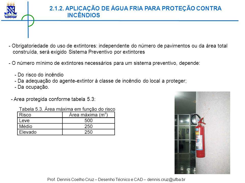 Prof. Dennis Coelho Cruz – Desenho Técnico e CAD – dennis.cruz@ufba.br - Obrigatoriedade do uso de extintores: independente do número de pavimentos ou