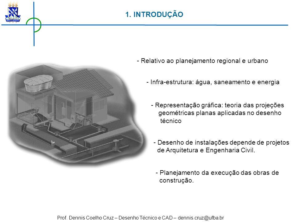 Prof. Dennis Coelho Cruz – Desenho Técnico e CAD – dennis.cruz@ufba.br 1. INTRODUÇÃO - Relativo ao planejamento regional e urbano - Infra-estrutura: á