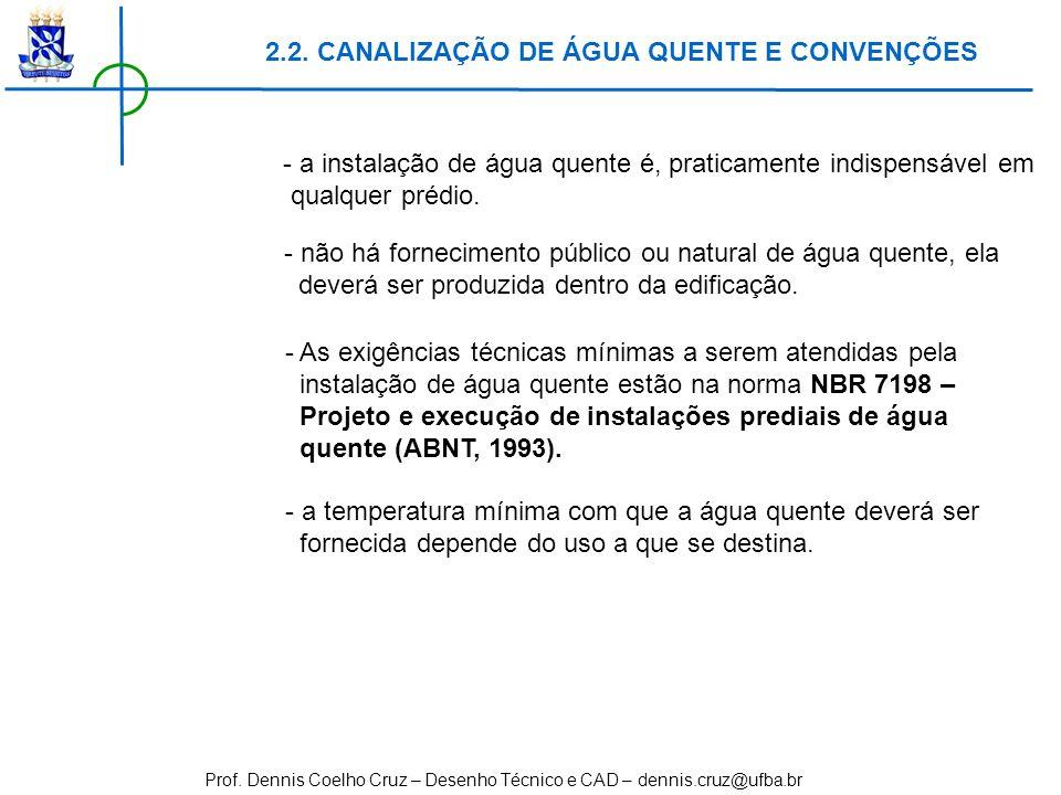 Prof. Dennis Coelho Cruz – Desenho Técnico e CAD – dennis.cruz@ufba.br 2.2. CANALIZAÇÃO DE ÁGUA QUENTE E CONVENÇÕES - a instalação de água quente é, p