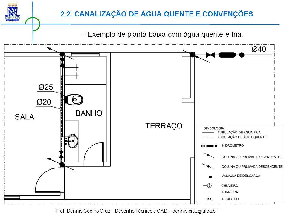 Prof. Dennis Coelho Cruz – Desenho Técnico e CAD – dennis.cruz@ufba.br - Exemplo de planta baixa com água quente e fria. 2.2. CANALIZAÇÃO DE ÁGUA QUEN