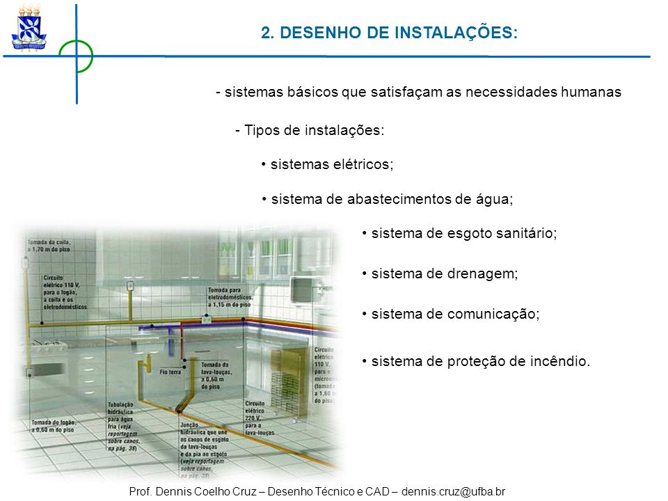 Prof. Dennis Coelho Cruz – Desenho Técnico e CAD – dennis.cruz@ufba.br 2. DESENHO DE INSTALAÇÕES: - sistemas básicos que satisfaçam as necessidades hu