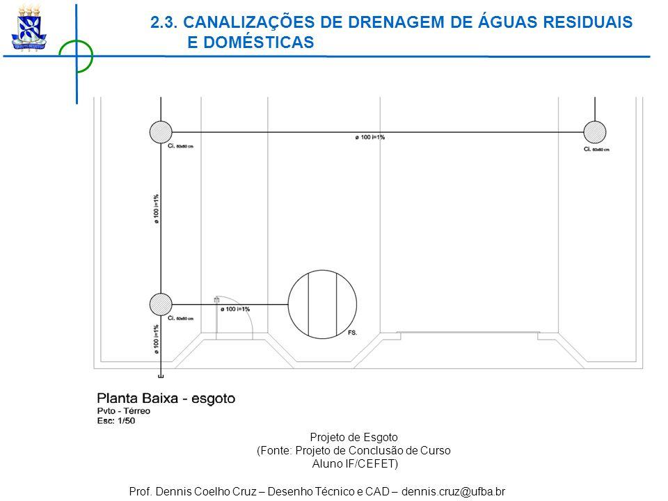 Prof. Dennis Coelho Cruz – Desenho Técnico e CAD – dennis.cruz@ufba.br 2.3. CANALIZAÇÕES DE DRENAGEM DE ÁGUAS RESIDUAIS E DOMÉSTICAS Projeto de Esgoto