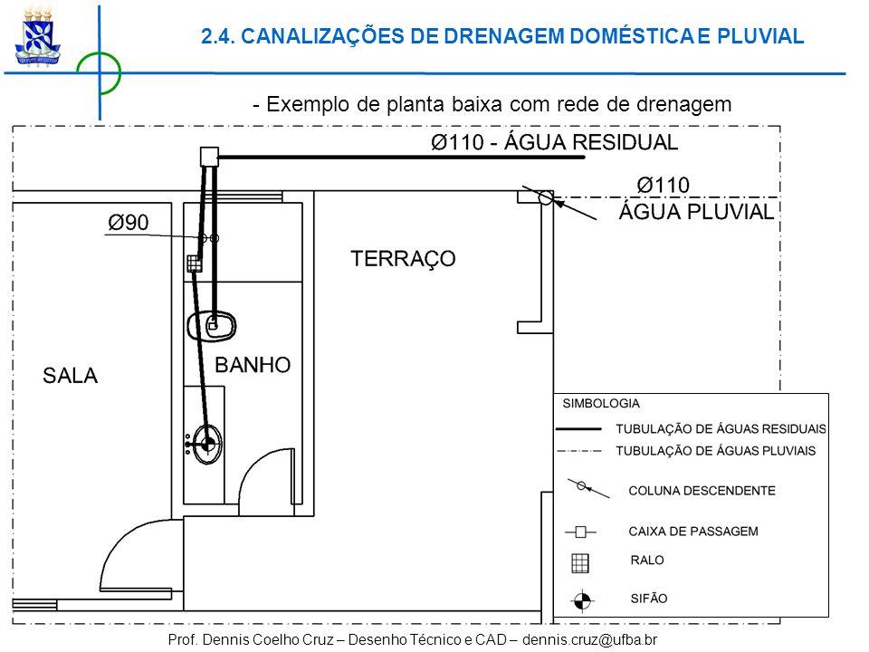 Prof. Dennis Coelho Cruz – Desenho Técnico e CAD – dennis.cruz@ufba.br - Exemplo de planta baixa com rede de drenagem 2.4. CANALIZAÇÕES DE DRENAGEM DO