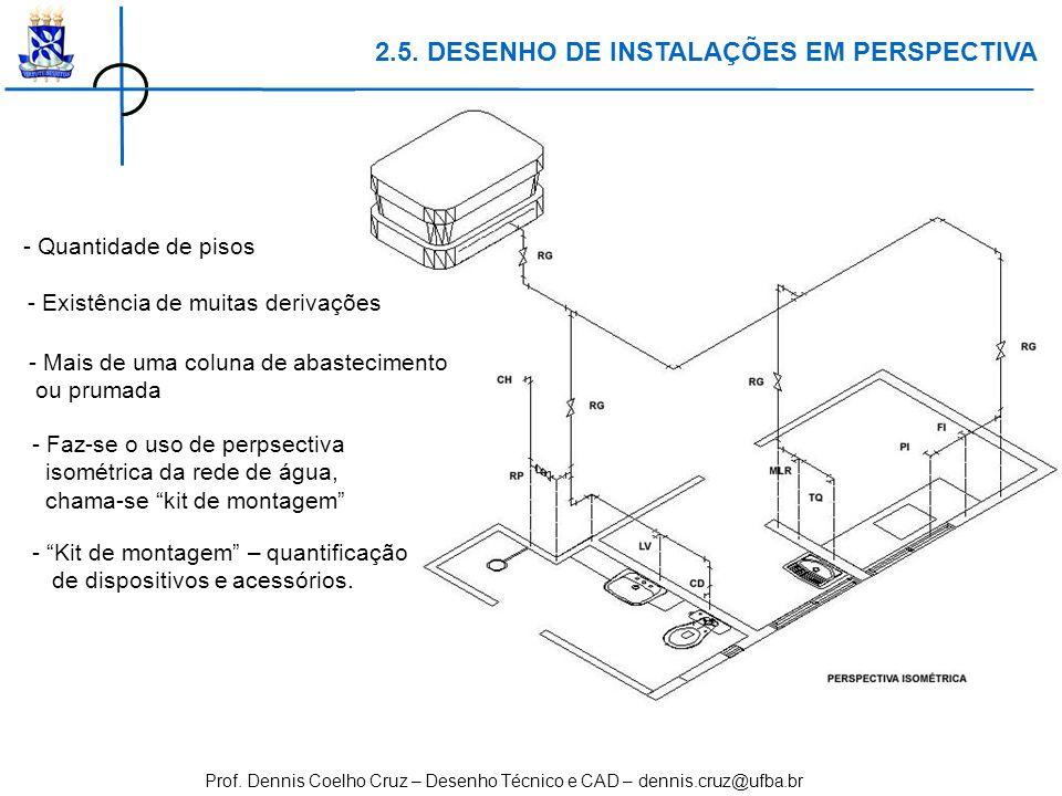 Prof. Dennis Coelho Cruz – Desenho Técnico e CAD – dennis.cruz@ufba.br - Quantidade de pisos 2.5. DESENHO DE INSTALAÇÕES EM PERSPECTIVA - Existência d