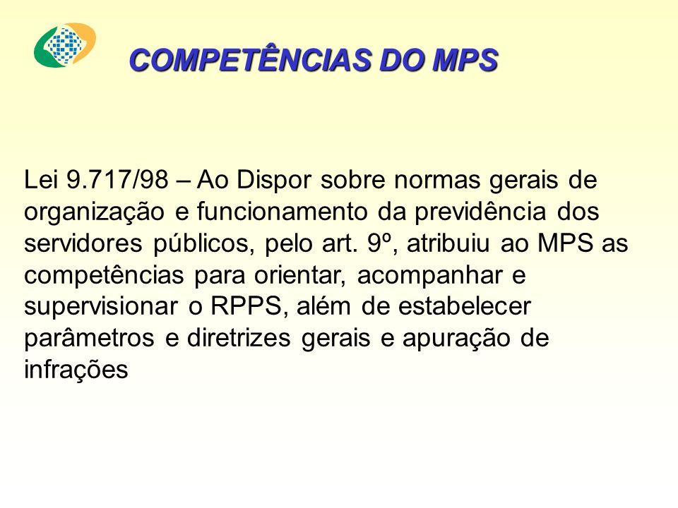 Lei 9.717/98 – Ao Dispor sobre normas gerais de organização e funcionamento da previdência dos servidores públicos, pelo art. 9º, atribuiu ao MPS as c