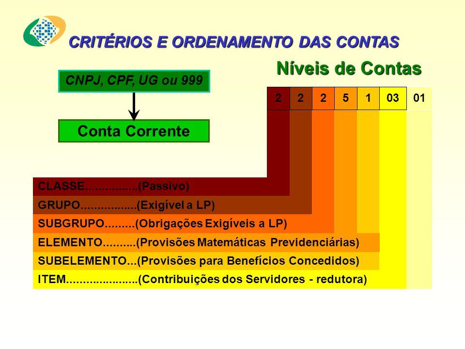 CRITÉRIOS E ORDENAMENTO DAS CONTAS Conta Corrente CNPJ, CPF, UG ou 999 01 ITEM......................(Contribuições dos Servidores - redutora) 03 SUBELEMENTO...(Provisões para Benefícios Concedidos) 1 ELEMENTO..........(Provisões Matemáticas Previdenciárias) 5 SUBGRUPO.........(Obrigações Exigíveis a LP) 2 GRUPO.................(Exigível a LP) 2 CLASSE................(Passivo) 2 Níveis de Contas