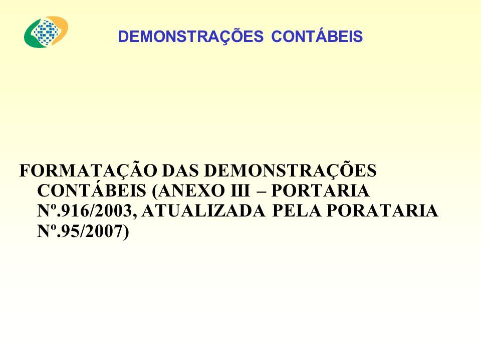 DEMONSTRAÇÕES CONTÁBEIS FORMATAÇÃO DAS DEMONSTRAÇÕES CONTÁBEIS (ANEXO III – PORTARIA Nº.916/2003, ATUALIZADA PELA PORATARIA Nº.95/2007)