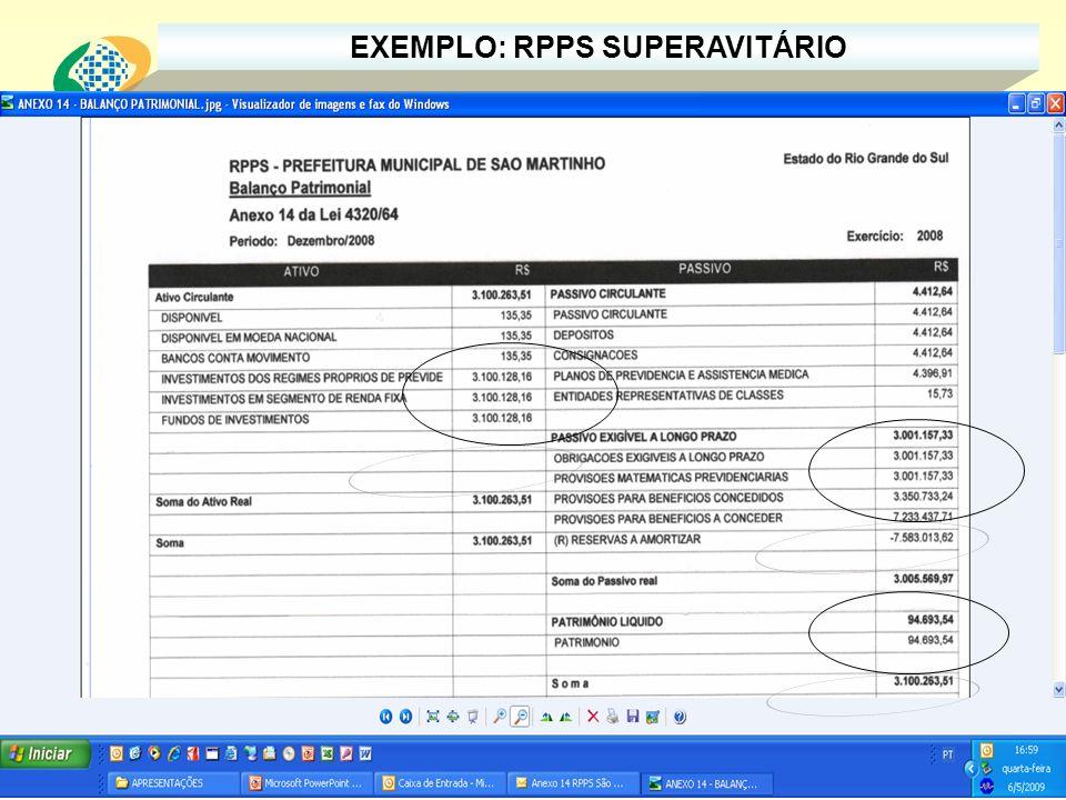 EXEMPLO: RPPS SUPERAVITÁRIO