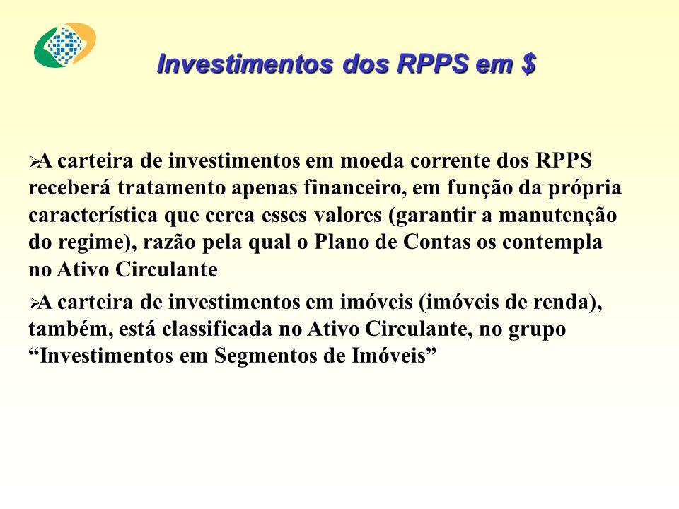 A carteira de investimentos em moeda corrente dos RPPS receberá tratamento apenas financeiro, em função da própria característica que cerca esses valo
