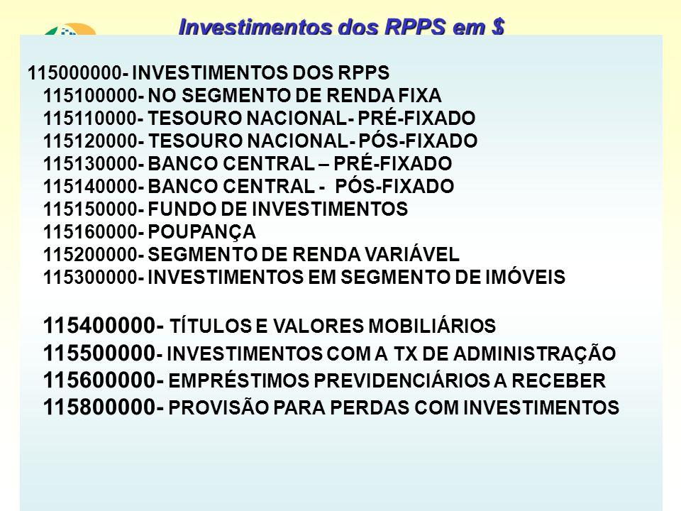 115000000- INVESTIMENTOS DOS RPPS 115100000- NO SEGMENTO DE RENDA FIXA 115110000- TESOURO NACIONAL- PRÉ-FIXADO 115120000- TESOURO NACIONAL- PÓS-FIXADO