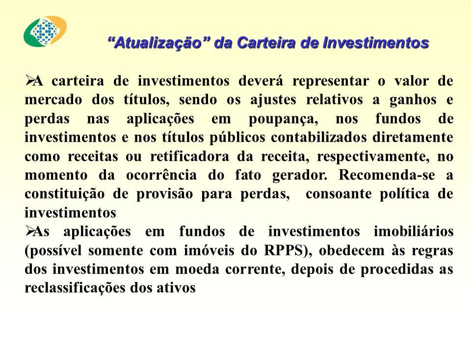Atualização da Carteira de Investimentos A carteira de investimentos deverá representar o valor de mercado dos títulos, sendo os ajustes relativos a g
