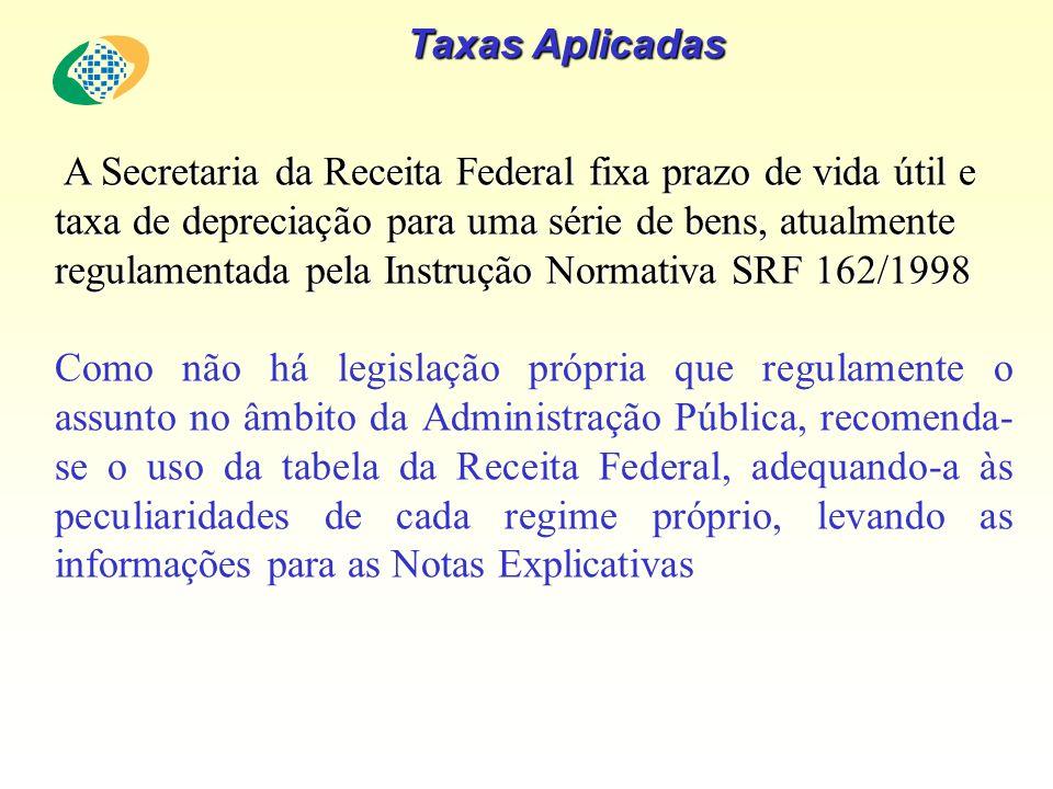 Taxas Aplicadas A Secretaria da Receita Federal fixa prazo de vida útil e taxa de depreciação para uma série de bens, atualmente regulamentada pela In