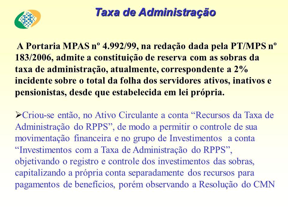 Taxa de Administração A Portaria MPAS nº 4.992/99, na redação dada pela PT/MPS nº 183/2006, admite a constituição de reserva com as sobras da taxa de