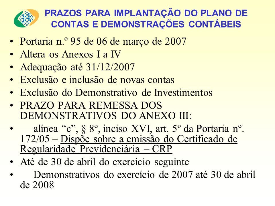 PRAZOS PARA IMPLANTAÇÃO DO PLANO DE CONTAS E DEMONSTRAÇÕES CONTÁBEIS Portaria n.º 95 de 06 de março de 2007 Altera os Anexos I a IV Adequação até 31/12/2007 Exclusão e inclusão de novas contas Exclusão do Demonstrativo de Investimentos PRAZO PARA REMESSA DOS DEMONSTRATIVOS DO ANEXO III: alínea c, § 8º, inciso XVI, art.