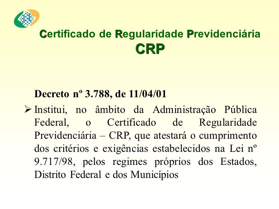 CRP CRP Certificado de Regularidade Previdenciária CRP Decreto nº 3.788, de 11/04/01 Institui, no âmbito da Administração Pública Federal, o Certificado de Regularidade Previdenciária – CRP, que atestará o cumprimento dos critérios e exigências estabelecidos na Lei nº 9.717/98, pelos regimes próprios dos Estados, Distrito Federal e dos Municípios
