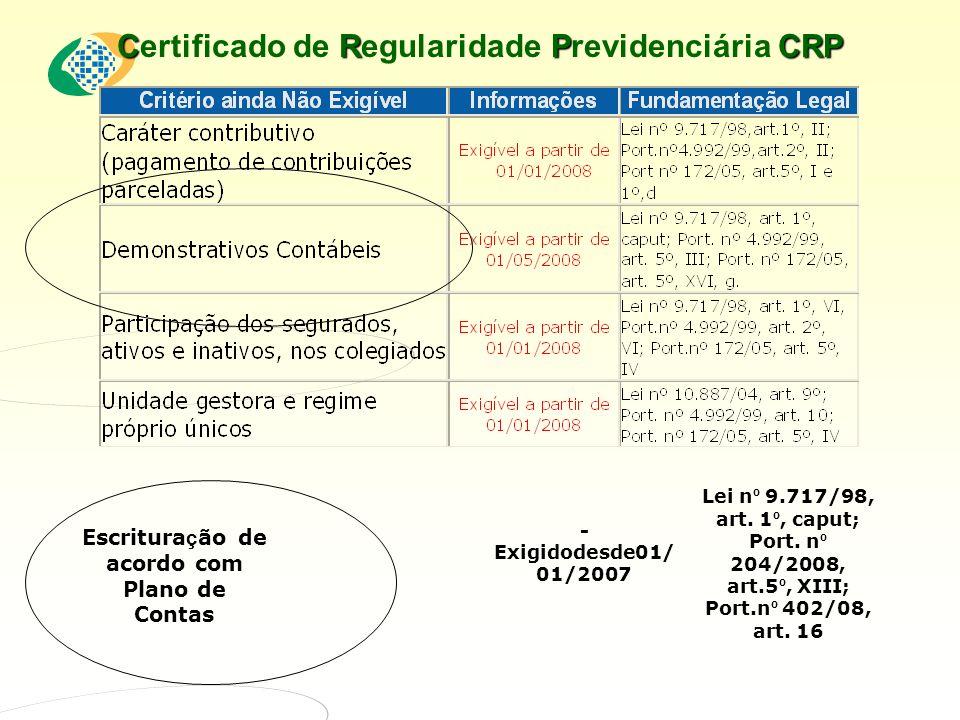 CRPCRP Certificado de Regularidade Previdenciária CRP Escritura ç ão de acordo com Plano de Contas - Exigidodesde01/ 01/2007 Lei n º 9.717/98, art.