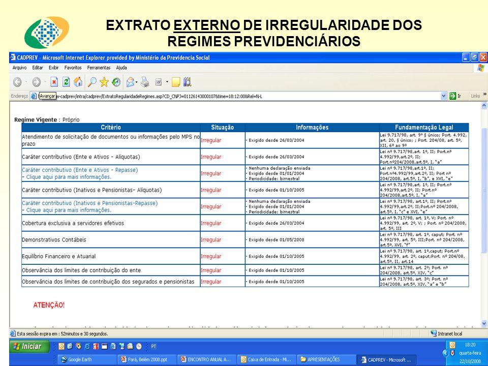 EXTRATO EXTERNO DE IRREGULARIDADE DOS REGIMES PREVIDENCIÁRIOS ATENÇÃO! ATENÇÃO!