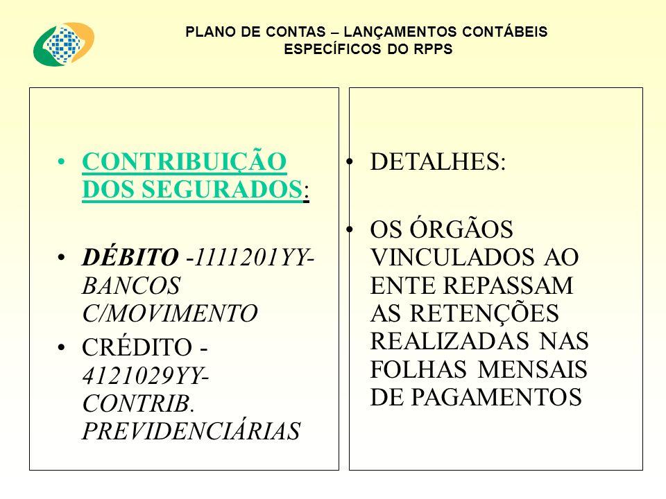 PLANO DE CONTAS – LANÇAMENTOS CONTÁBEIS ESPECÍFICOS DO RPPS CONTRIBUIÇÃO DOS SEGURADOS: DÉBITO -1111201YY- BANCOS C/MOVIMENTO CRÉDITO - 4121029YY- CONTRIB.