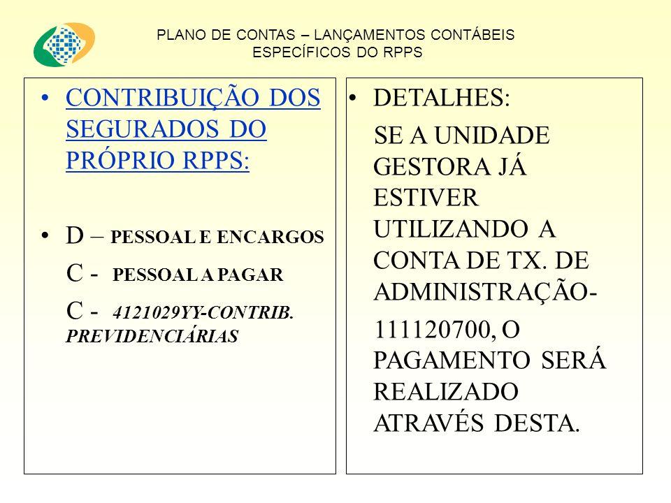 PLANO DE CONTAS – LANÇAMENTOS CONTÁBEIS ESPECÍFICOS DO RPPS CONTRIBUIÇÃO DOS SEGURADOS DO PRÓPRIO RPPS: D – PESSOAL E ENCARGOS C - PESSOAL A PAGAR C - 4121029YY-CONTRIB.