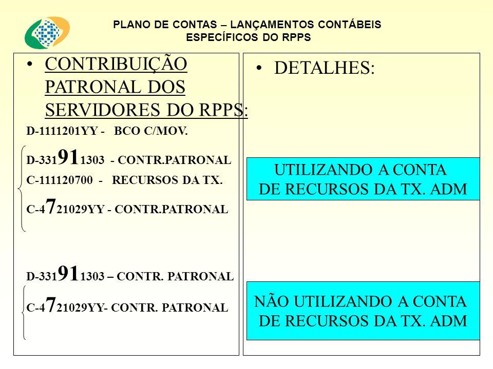 PLANO DE CONTAS – LANÇAMENTOS CONTÁBEIS ESPECÍFICOS DO RPPS CONTRIBUIÇÃO PATRONAL DOS SERVIDORES DO RPPS: D-1111201YY - BCO C/MOV. D-331 91 1303 - CON