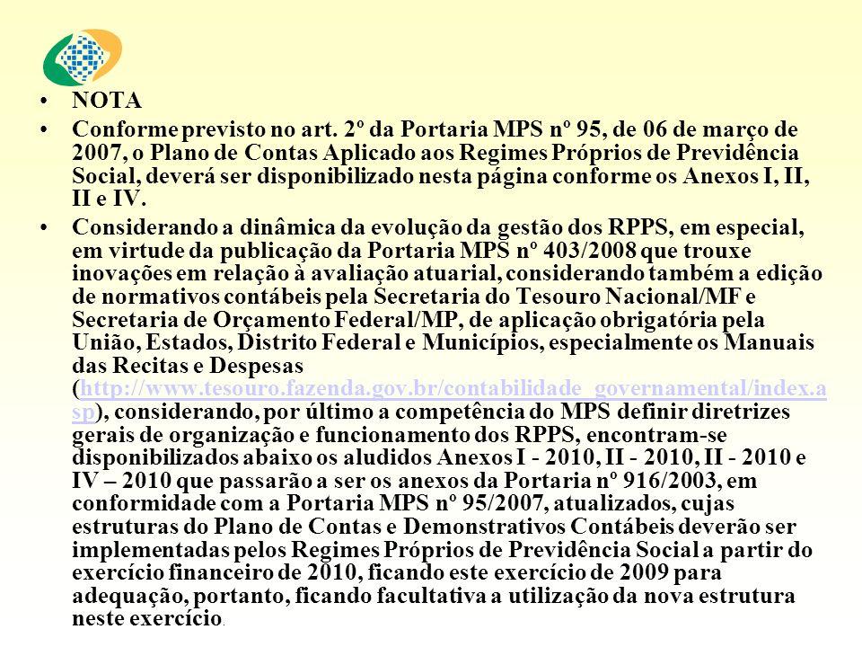NOTA Conforme previsto no art. 2º da Portaria MPS nº 95, de 06 de março de 2007, o Plano de Contas Aplicado aos Regimes Próprios de Previdência Social