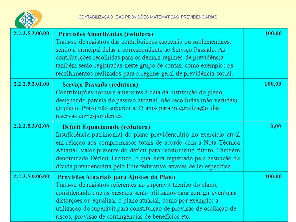 CONTABILIZAÇÃO DAS PROVISÕES MATEMÁTICAS PREVIDENCIÁRIAS 2.2.2.5.3.00.00 Provisões Amortizadas (redutora) Trata-se de registros das contribuições espe