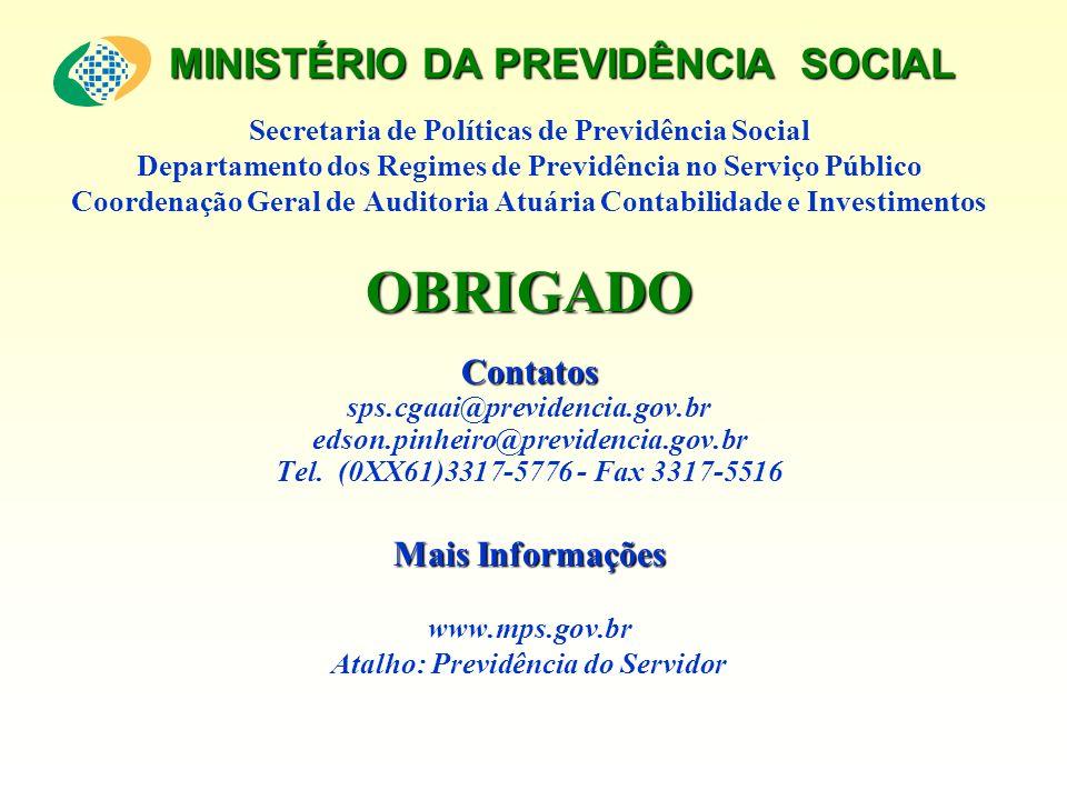 MINISTÉRIO DA PREVIDÊNCIA SOCIAL Secretaria de Políticas de Previdência Social Departamento dos Regimes de Previdência no Serviço Público Coordenação