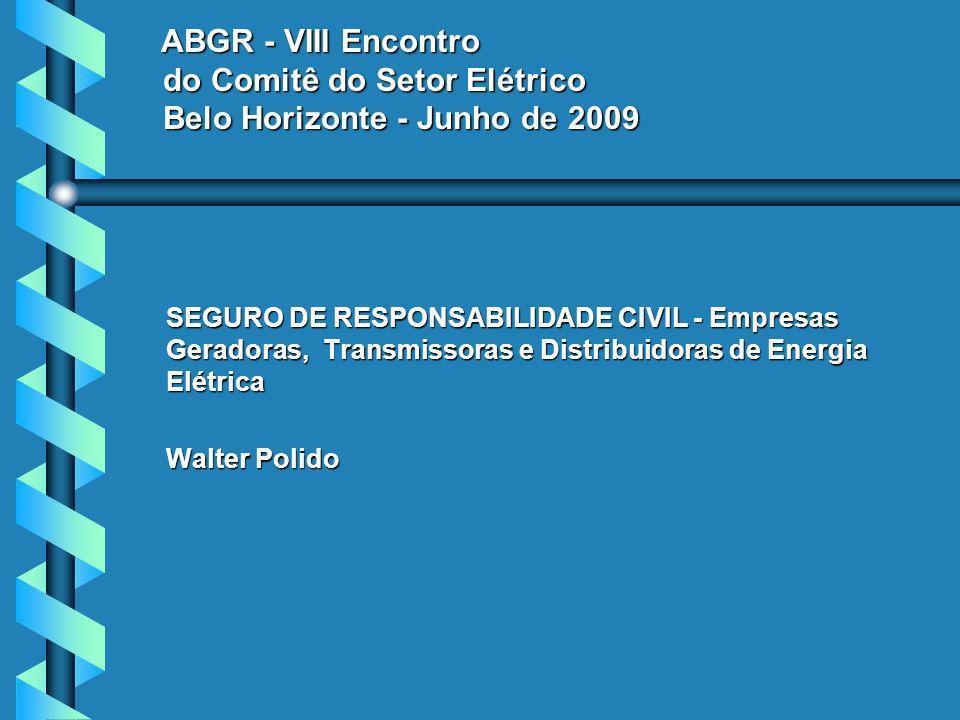 ABGR - VIII Encontro do Comitê do Setor Elétrico Belo Horizonte - Junho de 2009 ABGR - VIII Encontro do Comitê do Setor Elétrico Belo Horizonte - Junho de 2009 SEGURO DE RESPONSABILIDADE CIVIL - Empresas Geradoras, Transmissoras e Distribuidoras de Energia Elétrica Walter Polido