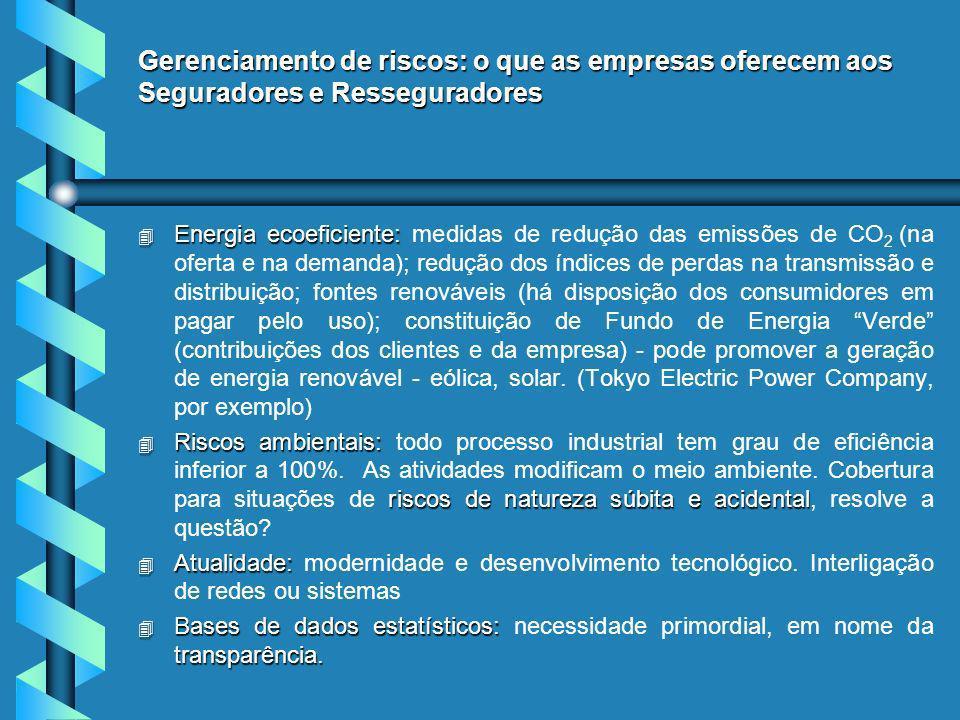 Gerenciamento de riscos: o que as empresas oferecem aos Seguradores e Resseguradores 4 Energia ecoeficiente: 4 Energia ecoeficiente: medidas de redução das emissões de CO 2 (na oferta e na demanda); redução dos índices de perdas na transmissão e distribuição; fontes renováveis (há disposição dos consumidores em pagar pelo uso); constituição de Fundo de Energia Verde (contribuições dos clientes e da empresa) - pode promover a geração de energia renovável - eólica, solar.