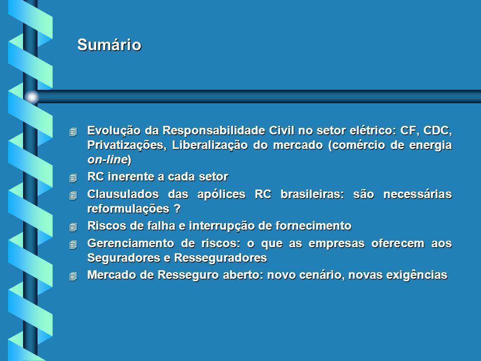 Sumário 4 Evolução da Responsabilidade Civil no setor elétrico: CF, CDC, Privatizações, Liberalização do mercado (comércio de energia on-line) 4 RC inerente a cada setor 4 Clausulados das apólices RC brasileiras: são necessárias reformulações .