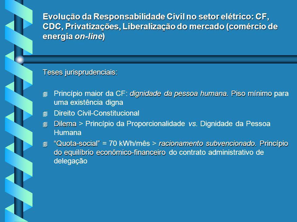 Evolução da Responsabilidade Civil no setor elétrico: CF, CDC, Privatizações, Liberalização do mercado (comércio de energia on-line) Teses jurisprudenciais: 4 dignidade da pessoa humana.