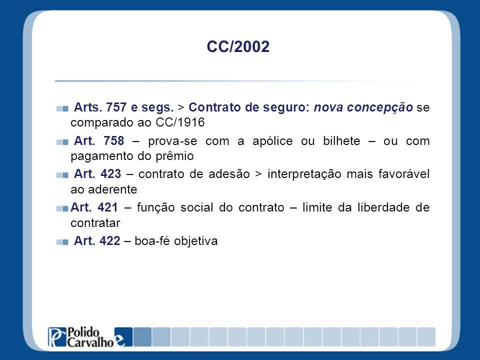 CC/2002 Arts. 757 e segs. > Contrato de seguro: nova concepção se comparado ao CC/1916 Art. 758 – prova-se com a apólice ou bilhete – ou com pagamento