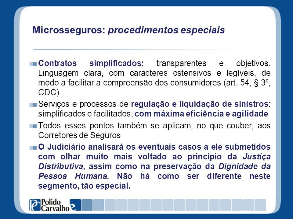 Microsseguros: procedimentos especiais Contratos simplificados: transparentes e objetivos. Linguagem clara, com caracteres ostensivos e legíveis, de m