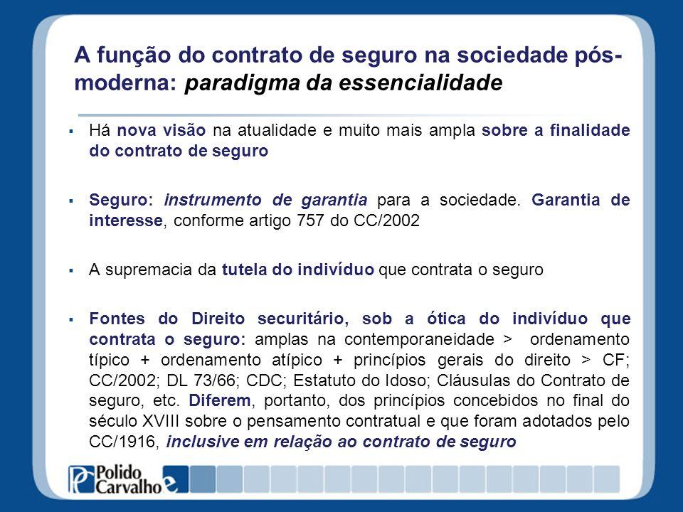 A função do contrato de seguro na sociedade pós- moderna: paradigma da essencialidade Há nova visão na atualidade e muito mais ampla sobre a finalidad