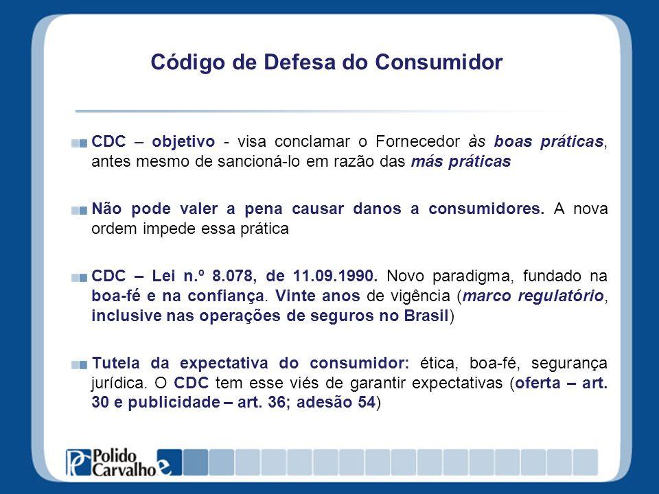 Código de Defesa do Consumidor CDC – objetivo - visa conclamar o Fornecedor às boas práticas, antes mesmo de sancioná-lo em razão das más práticas Não