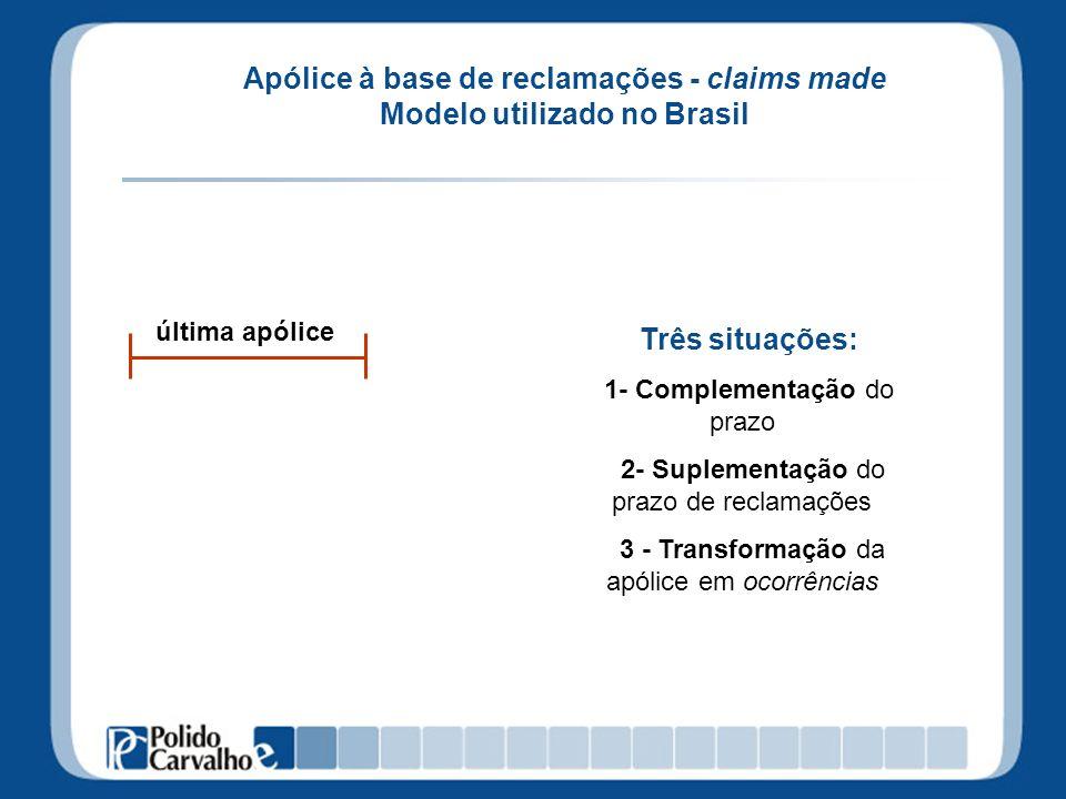 Apólice à base de reclamações - claims made Modelo utilizado no Brasil última apólice Três situações: 1- Complementação do prazo 2- Suplementação do p
