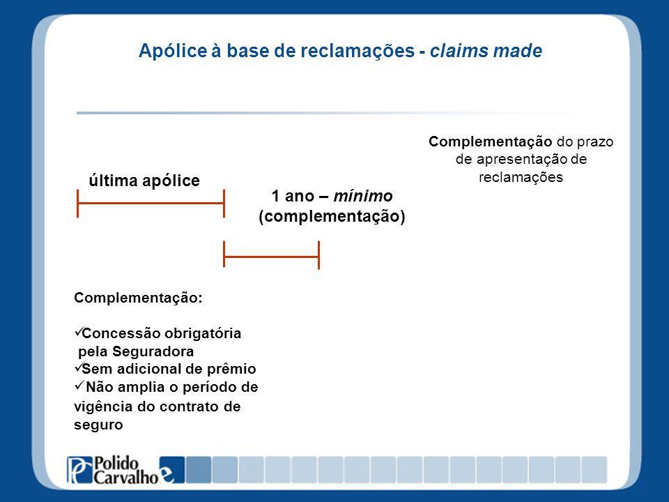 Apólice à base de reclamações - claims made última apólice Complementação do prazo de apresentação de reclamações Complementação: Concessão obrigatóri