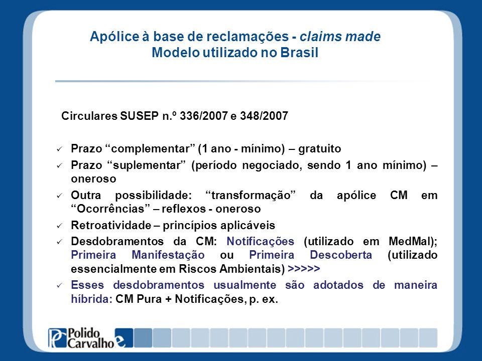 Apólice à base de reclamações - claims made Modelo utilizado no Brasil Circulares SUSEP n.º 336/2007 e 348/2007 Prazo complementar (1 ano - mínimo) –